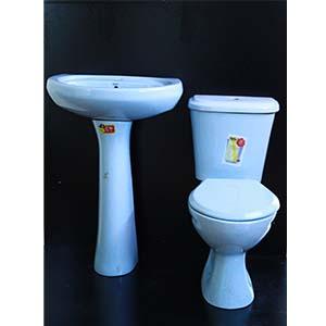 Close Couple Toilet Set Blue