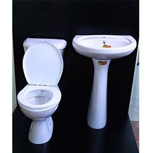 Close Couple Toilet Set White