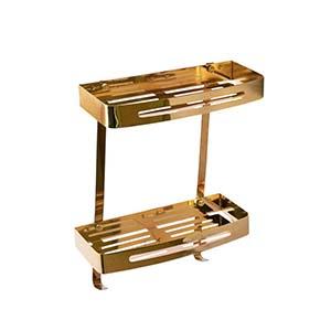 N0127G Double Rectangle Shelves-30Cm Gold