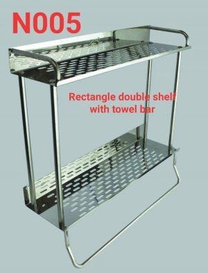 N005 Rectangle Double Shelf With A Towel Bar