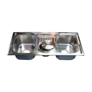 Double bowl with bin kitchen sink 9000